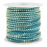 Imitat Wildleder mit Strass 3mm Gold-petrol green