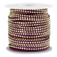 Imitat Wildleder mit Strass 3mm Gold-aubergine purple