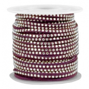 Imitat Wildleder mit Strass 3mm Silver-aubergine purple