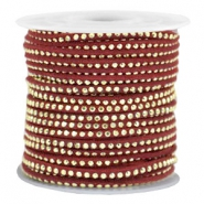 Imitat Wildleder mit Strass 3mm Gold-port red