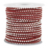 Imitat Wildleder mit Strass 3mm Silver-port red