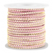 Imitat Wildleder mit Strass 3mm Gold-light vintage pink