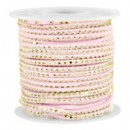 Imitat Wildleder mit Strass 3mm Gold-pastel light pink