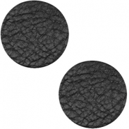 DQ Leder Cabochon 20mm Midnight black