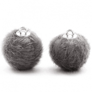Pompom Anhänger faux fur 16mm Dark grey