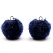 Pompom Anhänger faux fur 16mm Dark midnight blue