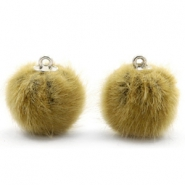 Pompom Anhänger faux fur 16mm Light olive green