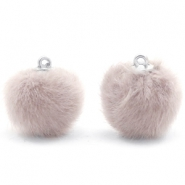 Pompom Anhänger faux fur 16mm Taupe grey