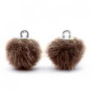 Pompom Anhänger faux fur 12mm Classsic brown