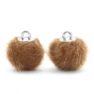 Pompom Anhänger faux fur 12mm Vintage golden brown