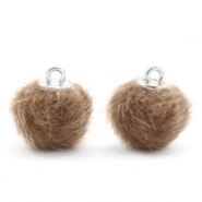 Pompom Anhänger faux fur 12mm Timeless taupe