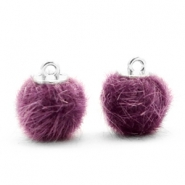 Pompom Anhänger faux fur 12mm Violet purple