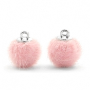 Pompom Anhänger faux fur 12mm Light pink