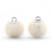 Pompom Anhänger faux fur 12mm Off white
