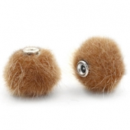 Pompom Perlen faux fur 12mm Vintage golden brown