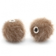 Pompom Perlen faux fur 12mm Timeless taupe
