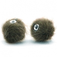 Pompom Perlen faux fur 12mm Olive green