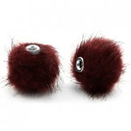 Pompom Perlen faux fur 12mm Port red