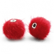 Pompom Perlen faux fur 12mm Scarlet red