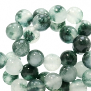 8 mm Naturstein Perlen rund Jade Mixed white-green