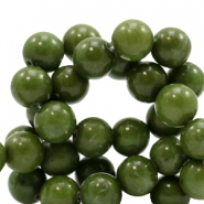8 mm Naturstein Perlen rund Army green