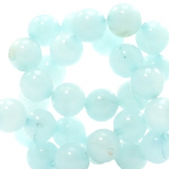 8 mm Naturstein Perlen rund Light haze blue