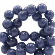8 mm Naturstein Perlen rund Jade Denim blue