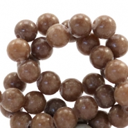 6 mm Naturstein Perlen rund Jade Chesnut brown