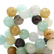 4 mm Naturstein Perlen rund Mixed light blue