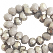 Top Facet Perlen 6x4 mm disc Greige taupe-half champagne pearl shine coating