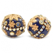Bohemian Perlen 20mm Dark blue-gold