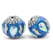 Bohemian Perlen 16mm Olympic blue-silver crystal