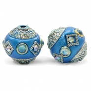 Bohemian Perlen 14mm Olympic blue-silver