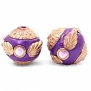 Bohemian Perlen 14mm Purple-rosegold
