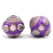 Bohemian Perlen 14mm Purple-silver