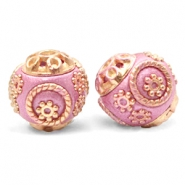 Bohemian Perlen 14mm Metallic dark pink-gold
