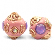 Bohemian Perlen 14mm Sweet pink-purple gold