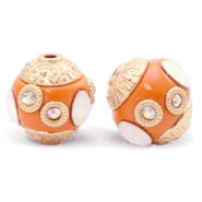 Bohemian Perlen 14mm Mandarin orange-gold crystal