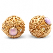Bohemian Perlen 16mm Purple-apricot gold