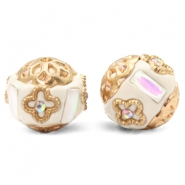 Bohemian Perlen 16mm Beige-white crystal gold