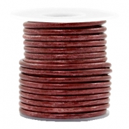 DQ Leder rund 3 mm Vintage maroon rust red metallic