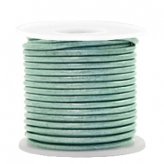 DQ Leder rund 2 mm Pastel lark green metallic