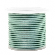 DQ Leder rund 1 mm Pastel lark green metallic