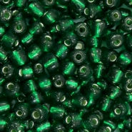 Glasperlen Rocailles 6/0 (4mm) Dark classic green silver lined