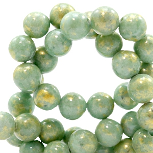 8 mm Naturstein Perlen rund Jade Gold-shire green
