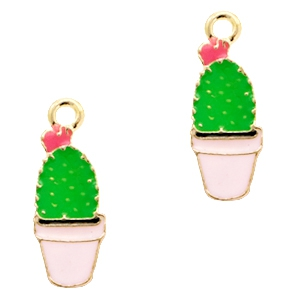 Basic quality Metall Anhänger cactus Gold-pink green