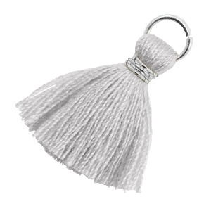 Perlen Quaste 1.8cm Silber-Light mirage grey