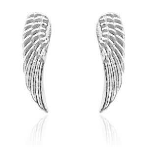 Trendy Ohrringe Nieten Angel Wing Silber