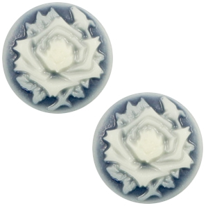 Cabochon Basic Camee 20mm Rose Dark blue-off white