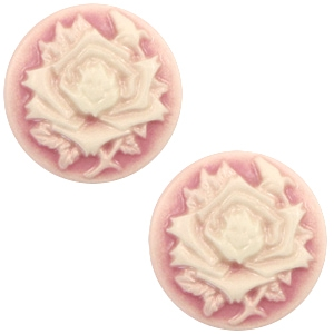Cabochon Basic Camee 20mm Rose Vintage pink-off white